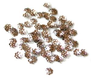 50 x Bead cap delicate flower silver, 6mm .-0