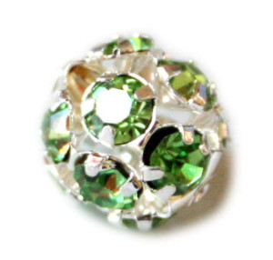 12.5 mm round metal bead with green AB rhinestone.-0