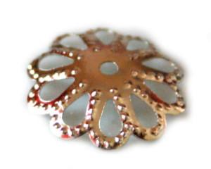 20 x Silver flower pattern beadcap, 14mm-0