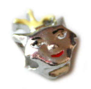 2x Cloisonne clown bead, silver colour, 11mm-0