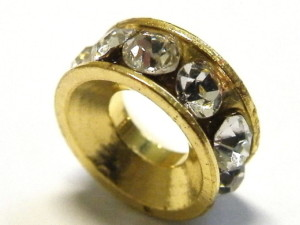 10 mm Roundel with larger hole, gold colour with crystal rhinestones