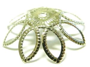10 x Bead cap large 15 mm, silver colour
