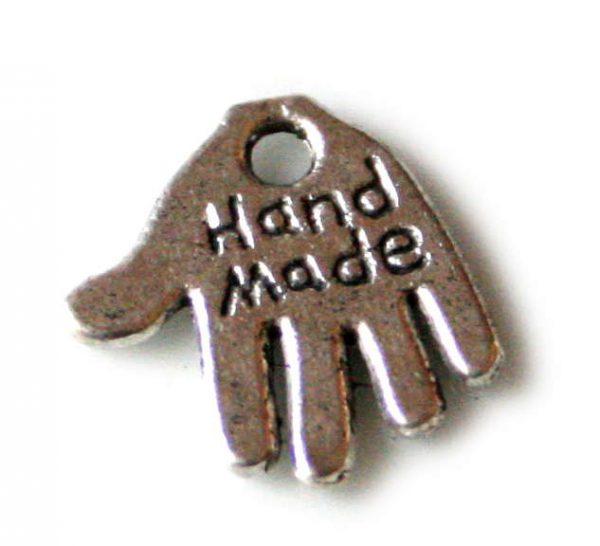 """10 x Hand """"hand made"""" charm, 12mm"""