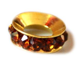 4x Topaz coloured rhine stones set in rondelle. Gold base colour. 12mm-0