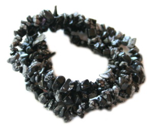 Snowflake Obsidian Chip String 80 cm long