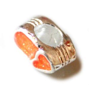2x Orange heart exclamation cloisonne bead. Silver base colour. 4mm.-0