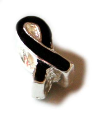 2x Black ribbon cloisonne bead. Gold base colour. 12mm.-0