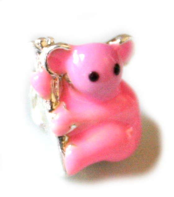 2x Pink kuala bear cloisonne bead. Silver base colour. 8mm.-0