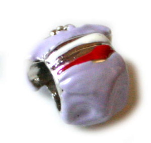2x Pandora Silver and lilac shirt bead 10mm.-0