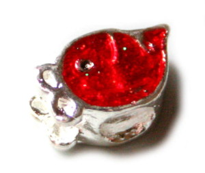 2x Red cloisonne strawberry face bead. Silver base colour-0