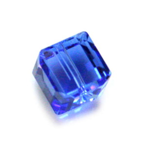 8mm Cube facet Swarovski bead medium sapphire (sxul) 5601/210