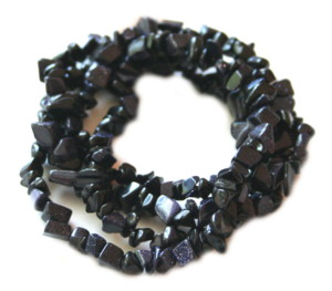 Blue goldstone chip string. 79cm
