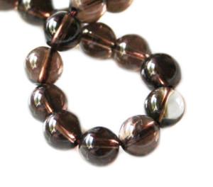 Smoky quartz bead string, round, 8mm, 40cm
