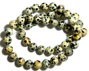 Dalmatian stone bead string, 8mm, round, 40cm