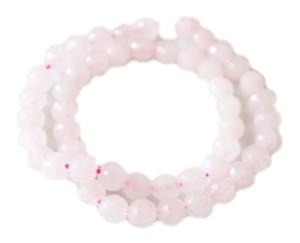 Rose Quartz bead string, round, faceted, 6mm, 40cm