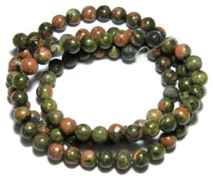Unakite bead string, 4mm, round, 40cm