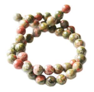 Unakite bead string, 8mm, Round, 40cm