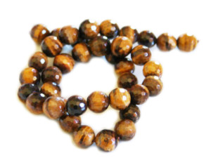 Tigers eye bead string, faceted, round, 10mm, 40cm