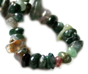 Green moss agate chip string, 80 cm