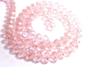Rose AB glass string, 6x8mm, rondelle, 45cm