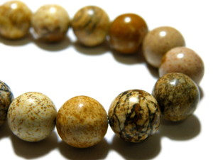 Picture stone bead string, 8mm, round, 40cm