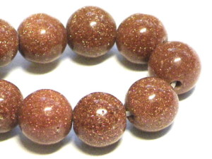 Goldstone bead string, round, 6mm, 40cm