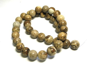 Picture Jasper bead string, round, 10mm, 40cm