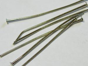 50 x Head pin, flat head 30mm Dull Silver