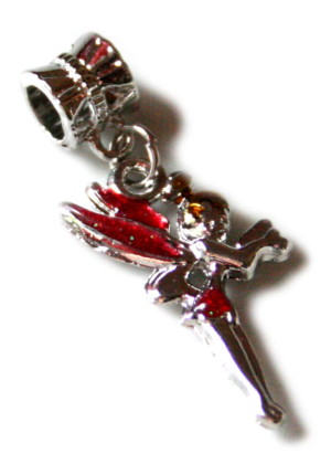 Red cloisonne fairy pendant, 35mm-0