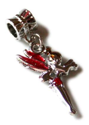 Red cloisonne fairy pendant, 35mm-0