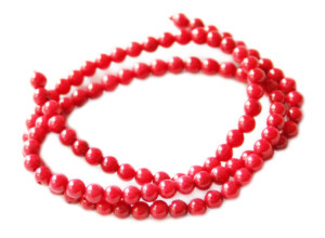 Red coral bead string, 4mm, round, 38cm