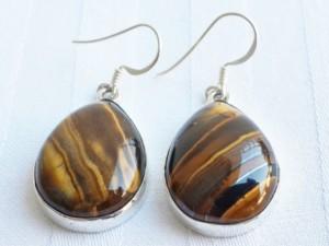 Tigers eye teardrop shape earrings in 925 silver