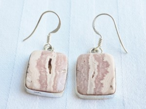 Rhodochrosite square shape earrings in 925 silver 15mm.
