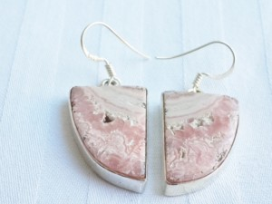 Rhodochrosite right angled triangle shape earrings in 925 silver 17mm.