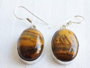 Tigers eye oval shape earrings in 925 silver
