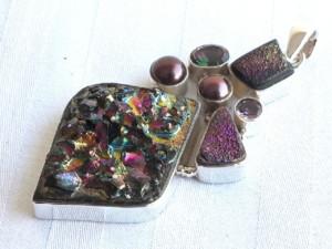 Titanium quartz druzy pendant in 92.5 silver 65mm-0