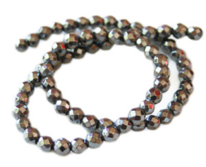 Hematite bead string, faceted, 6mm, 38cm