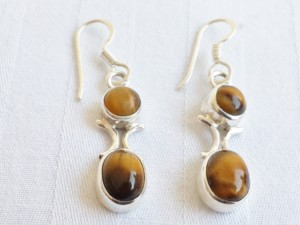 Tigerseye round and oval earrings in 925 silver 38mm