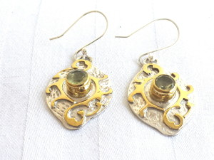 Lemon quartz earrings in 925 silver with brass highlights 28mm-0