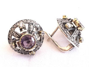 Amethyst in brass and 92.5 silver earring 18mm-0