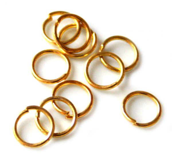 10x Jumprings, gold color, 8mm, 1mm thick-0