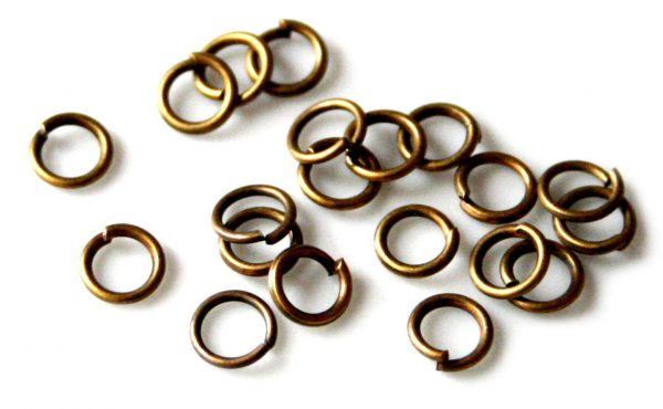 Packet of 20 Jumprings, bronze color, 5mm, 1mm thick-0