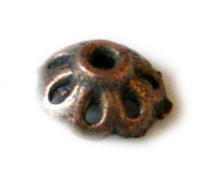 Bead cap, small flower, bronze color, 8mm-0