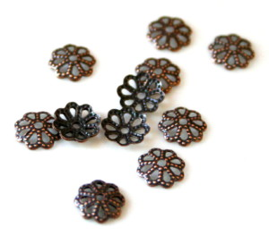 Packet of 10 Bead caps flat flower design, copper color, 7mm-0