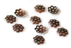 10 bead caps, copper color, small flower, 6mm-0