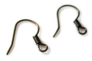 Earwires pair shepherds hook, Gunmetal. Size 15mm-0