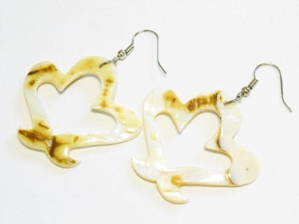 Simple filigree design earring pair in shell, 57mm