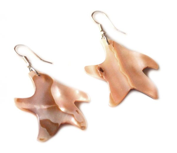 Starfish earring pair in shell, 54mm