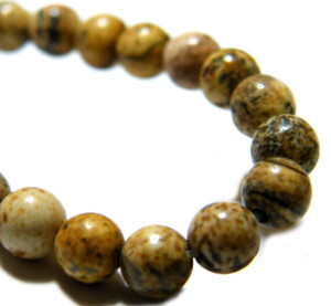 Picture stone bead string, 4mm, round, 40cm