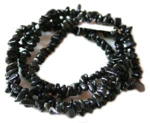 Black onyx chip string, 80cm